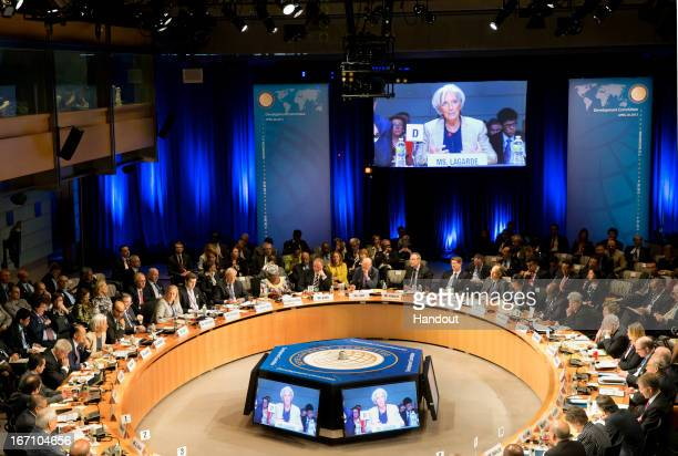 Managing Director Christine Lagarde addresses the Development Committe April 20 2013 at the World Bank Headquarters in Washington DC The IMF/World...