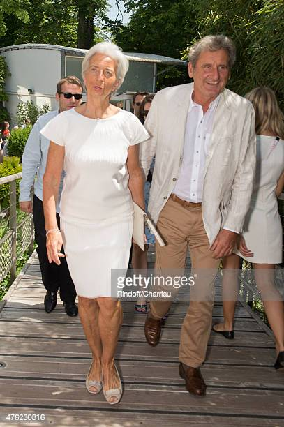 Managing Director Christine Lagarde and her husband Xavier Giocanti attend the Men Final of 2015 Roland Garros French Tennis Open Day Fithteen on...