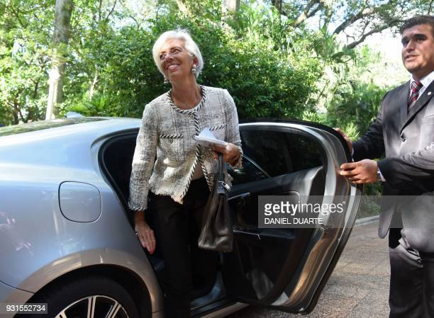 IMF Managing Director Christine Lagarde arrives at Muruvicha Roga presidential residence for a meeting with Paraguay's President Horacio Cartes in...