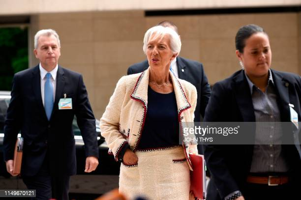 Managing Director Christine Lagarde arrives during Eurogroup meeting at the EU headquarters in Luxembourg on June 13, 2019.