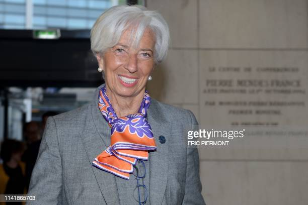 Managing Director Christine Lagarde arrives to attend the Paris Forum at the Economy Ministry in Paris on May 7, 2019.