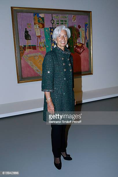 Managing Director Christine Lagarde attends the Icones de l'Art Moderne La Collection Chtchoukine Cocktail at Fondation Louis Vuitton on October 20...