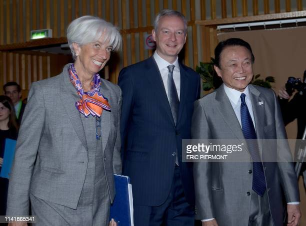 Managing Director Christine Lagarde, French Economy and Finance Minister Bruno Le Maire and Japanese Deputy Prime Minister and Minister of Finance...