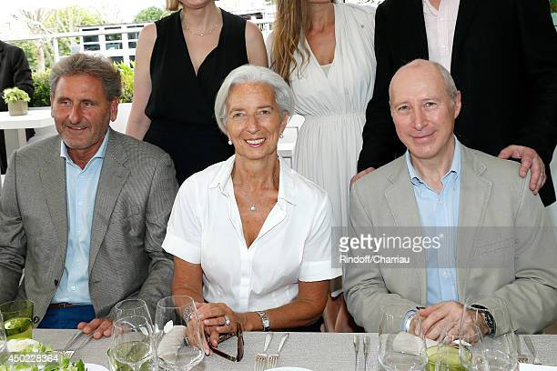 Managing Director Christine Lagarde her husband Xavier Giocanti and Prefect Pierre Liautaud attend the Roland Garros French Tennis Open 2014 Day 14...