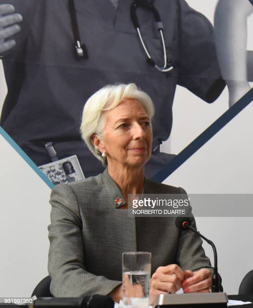 IMF Managing Director Christine Lagarde is pictured during a press conference with Paraguay's Economy Minister Lea Gimenez after a meeting with civil...