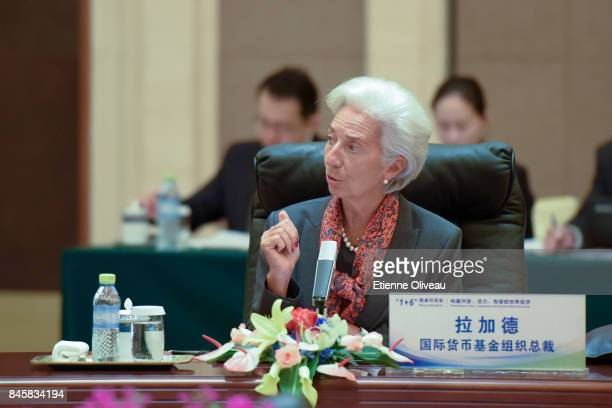 Managing Director Christine Lagarde of the International Monetary Fund, speaks during The 1+6 Round Table Dialogue meeting at Diaoyutai State...