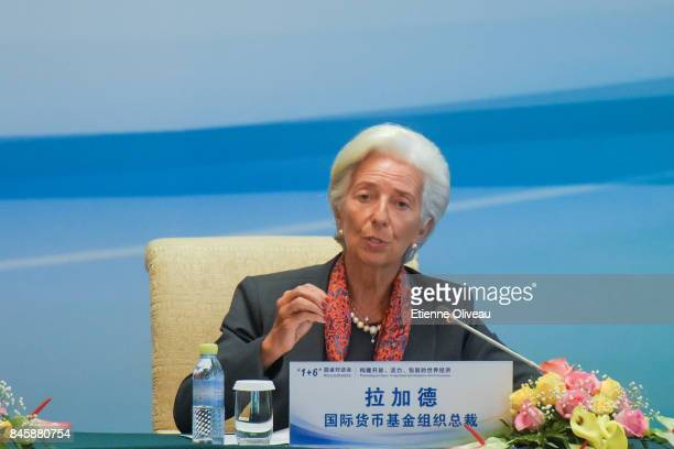 Managing Director Christine Lagarde of the International Monetary Fund speaks during The 16 Round Table Press Conference at Diaoyutai State...
