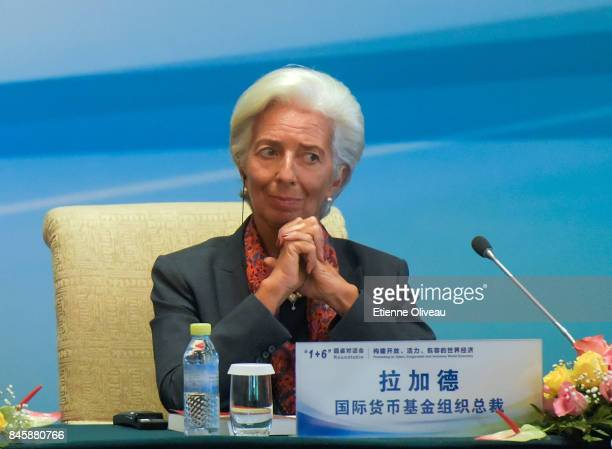 Managing Director Christine Lagarde of the International Monetary Fund attends The 16 Round Table Press Conference at Diaoyutai State Guesthouse on...