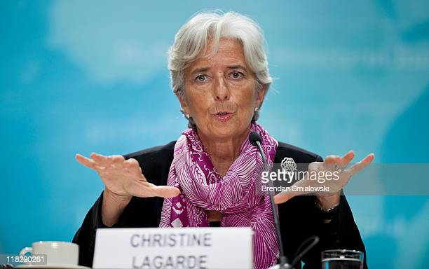 Managing Director Christine Lagarde speaks during a news briefing at the International Monetary Fund's headquarters July 6 2011 in Washington DC...