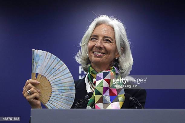 Managing Director Christine Lagarde speaks during a press conference at press center on December 5 2013 in Seoul South Korea IMF and South Korea met...