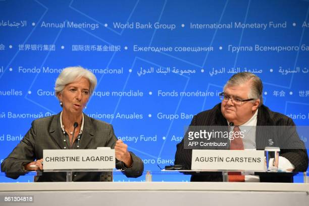 IMF Managing director Christine Lagarde speaks during a press conference with Governor of the Bank of Mexico and Chairman of the International...