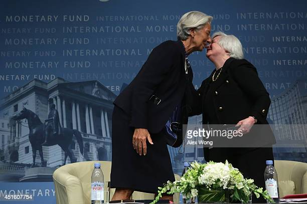 Managing Director Christine Lagarde thanks Federal Reserve Board Chair Janet Yellen for participating in a discussion at the International Monetary...