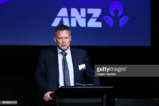 Managing Director Institutional Paul Goodwin of ANZ speaks during an ANZ post budget lunch event at Shed 6 on May 18 2018 in Wellington New Zealand...