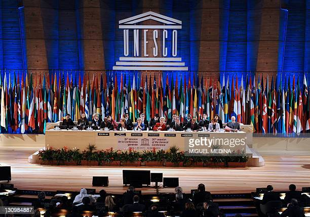 UNESCO managing director Irina Bokova of Bulgaria flanked by the Executive Board President Eleonora Valentinovna Mitrofanova of Russia and the 36th...