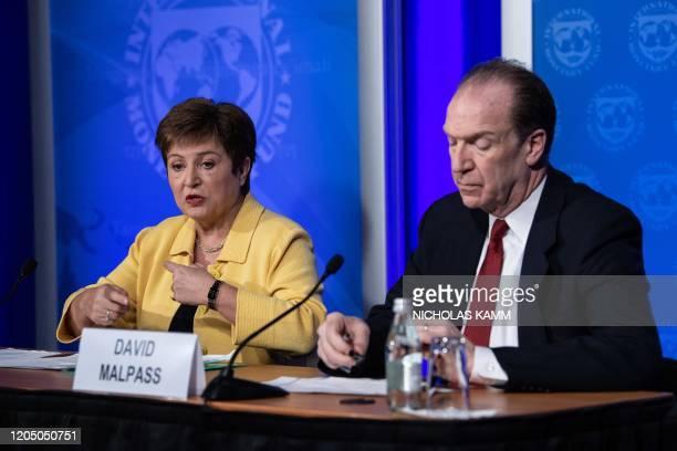 Managing Director Kristalina Georgieva speaks at a press briefing with World Bank Group President David Malpass on COVID-19 in Washington, DC, on...