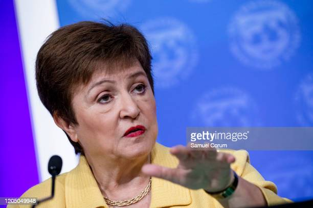 Managing Director Kristalina Georgieva speaks during a joint press conference with World Bank Group President David Malpass on the recent...