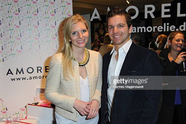 Managing director LeaSophie Cramer and Sebastian Pollok attend Amorelie PopUp Store Opening on February 7 2014 in Munich Germany