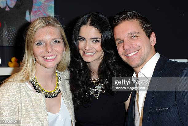 Managing director LeaSophie Cramer Miss Europe Shermine Shahrivar and managing director Sebastian Pollok attend Amorelie PopUp Store Opening on...