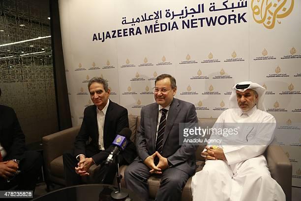 Managing Director of Al Jazeera Mostefa Souag AlJazeera journalist Ahmed Mansour and Executive Director Marketing Distribution of Al Jazeera Media...