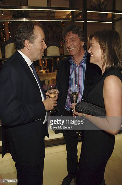 Managing Director of Asprey Lord Bruce Dundas with Nick Cook and Eimear Montgomerie attend the Asprey 225th anniversary party at Asprey on December 7...