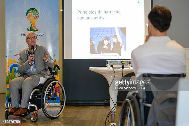 Managing Director of Centre for Acess to Football in Europe CAFE Joyce Cook speaks a volunteer narrators during 2014 FIFA World Cup AudioDescriptive...