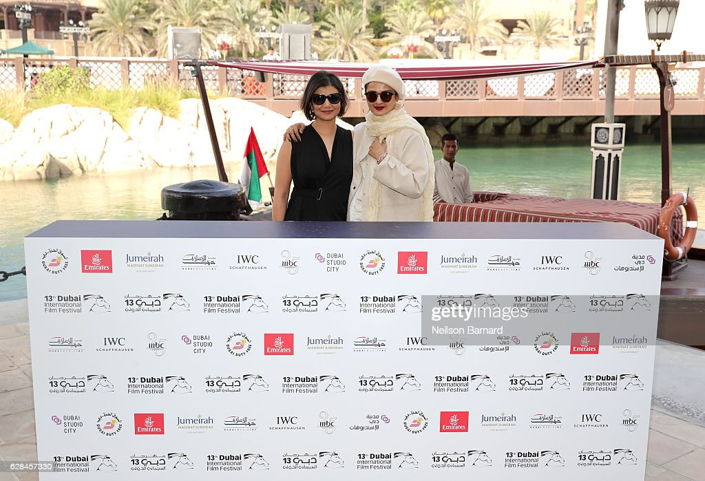 Managing Director of DIFF Shivani Pandya and Rekha who received the Lifetime Achievement award attend a photocall during day two of the 13th annual...