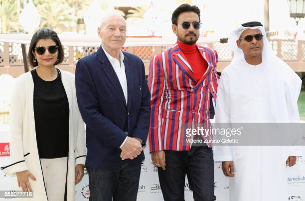 Managing Director of DIFF Shivani Pandya Sir Patrick Stewart Irrfan Khan and DIFF Chairman Abdulhamid Juma attend a photocall on day three of the...