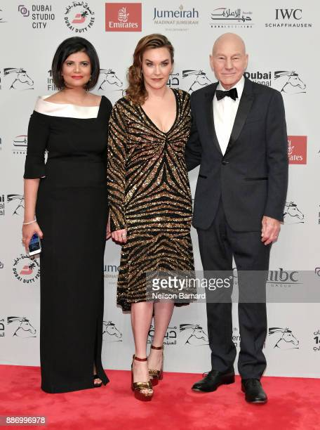 Managing Director of DIFF Shivani Pandya Sunny Ozell and Sir Patrick Stewart attend the Opening Night Gala of the 14th annual Dubai International...