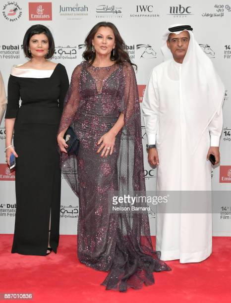 Managing Director of DIFF Shivani Pandya Vanessa Williams and DIFF Chairman Abdulhamid Juma attend the Opening Night Gala of the 14th annual Dubai...
