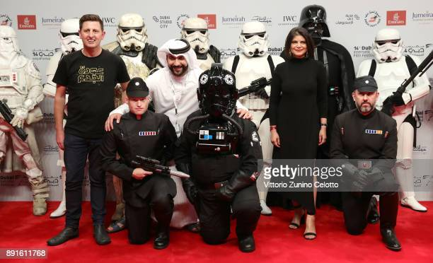 Managing Director of DIFF Shivani Pandya with Darth Vader and Stormtoopers at the 'Star Wars The Last Jedi' Closing Night red carpet on day eight of...