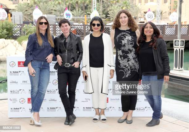 Managing Director of DIFF Shivani Pandya with filmmakers Niki Caro Kimberly Peirce Annemarie Jacir and Haifaa Al Mansour attend the 'Women at the...
