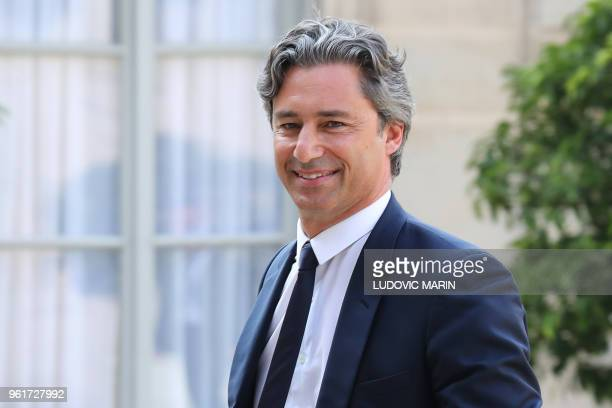 Managing director of Facebook France Laurent Solly arrives to attend a meeting with the Facebook CEO and the French president at the Elysee Palace in...
