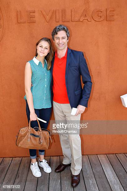 Managing Director of Facebook Laurent Solly and his daughter Victoire attend the 2015 Roland Garros French Tennis Open Day Thirteen on June 5 2015 in...