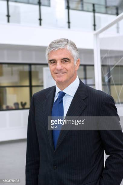 Managing director of French multinational luxury group LVMH Antonio Belloni poses in the new LVMH perfume and cosmetics research centre named Helios...