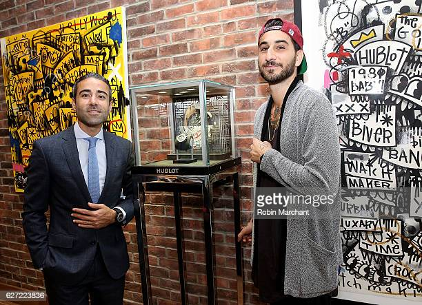 Managing Director of Hublot of America JeanFrancois Sberro and artist Chris 'Flore' Florentino attend Hublot Cocktail Reception at Miami Design...