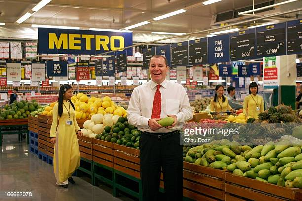 Managing Director of Metro Cash Carry Vietnam James Scott in the produce section of one of his stores