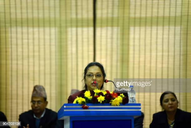 Managing Director of Nepal Telecom Kamini Rajbhandari giving speech during Inauguration of Nepal China Crossborder Optical Fiber Link between Nepal...