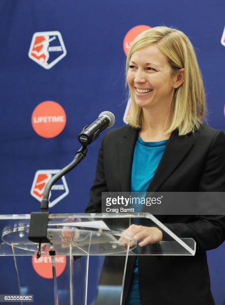 Managing director of operations for the National Women's Soccer League Amanda Duffy speaks at the Lifetime National Women's Soccer League press...