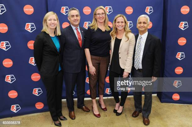 Managing director of operations for the NWSL Amanda Duffy NWSL Commissioner Jeff Plush CEO of AE Networks Nancy Dubuc Sky Blue FC defender Christie...