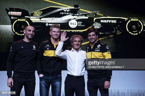 Managing Director of Renault Sport Racing Cyril Abiteboul Renault's German driver Nico Hulkenberg French former Fromula One driver and Renault...