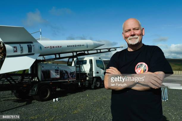 Managing Director of Starchaser Steve Bennett stands next to the Skybolt 2 Research Rocket as final preparations are made ahead of the launch from...