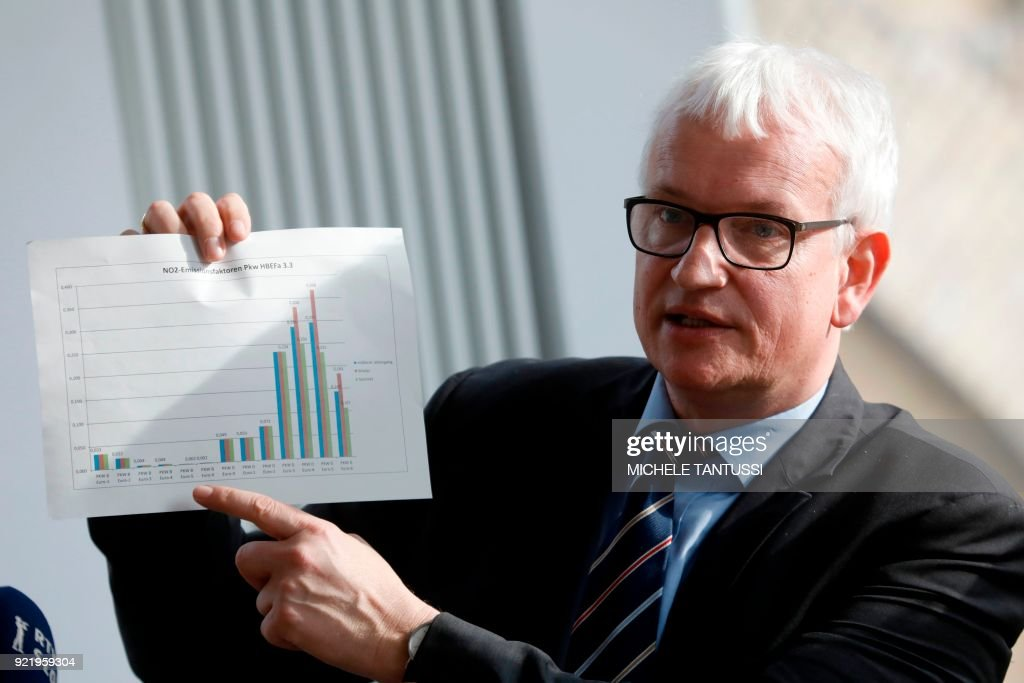 Managing director of the Deutsche Umwelthilfe (DUH, Environmental Action Germany) Juergen Resch, shows documents during a press conference to present the results of pollution tests ahead of a court decision on diesel driving bans on February 19, 2018 in Berlin. /