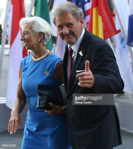Managing Director of the IMF Christine Lagarde and her husband Xavier Giocanti arrive to the Elbphilharmone for the dinner during the G20 Summit on...