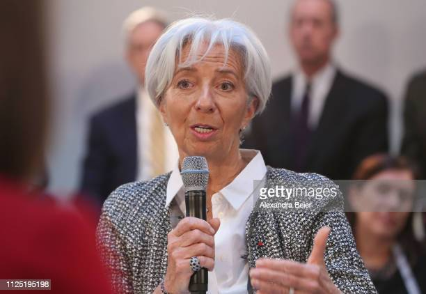 Managing director of the International Monetary Fund Christine Lagarde speaks during a panel discussion at the 55th Munich Security Conference on...