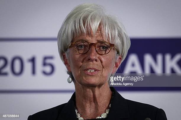 Managing Director of the International Monetary Fund Christine Lagarde delivers a speech during a press conference at the G20 Finance Ministers and...