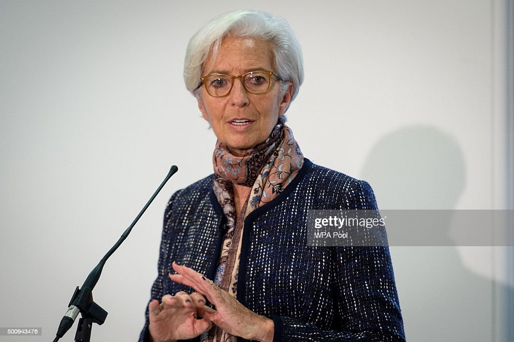 Managing Director of the International Monetary Fund Christine Lagarde speaks during a press conference to present the the concluding statement for the IMF 2015 Article IV consultation with the UK HM Treasury at the Treasury on December 11, 2015 in London, United Kingdom. The International Monetary Fund delivered its annual update on the UK economy today, during which its managing director Christine Lagarde praised the country's economic recovery and warned against leaving the EU.