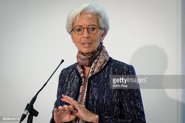 Managing Director of the International Monetary Fund Christine Lagarde speaks during a press conference to present the the concluding statement for...