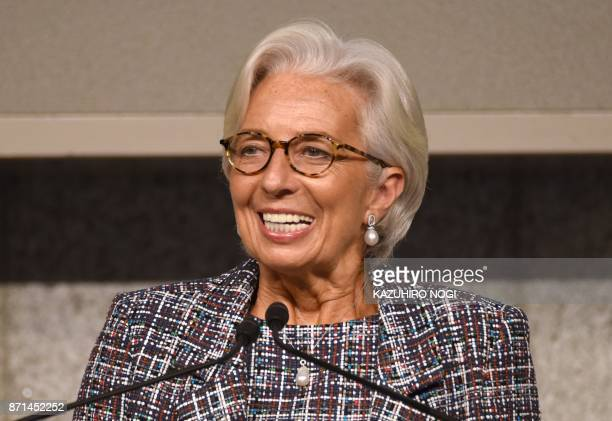 Managing Director of the International Monetary Fund Christine Lagarde delivers a keynote address during the conference 'Inclusive and Sustainable...