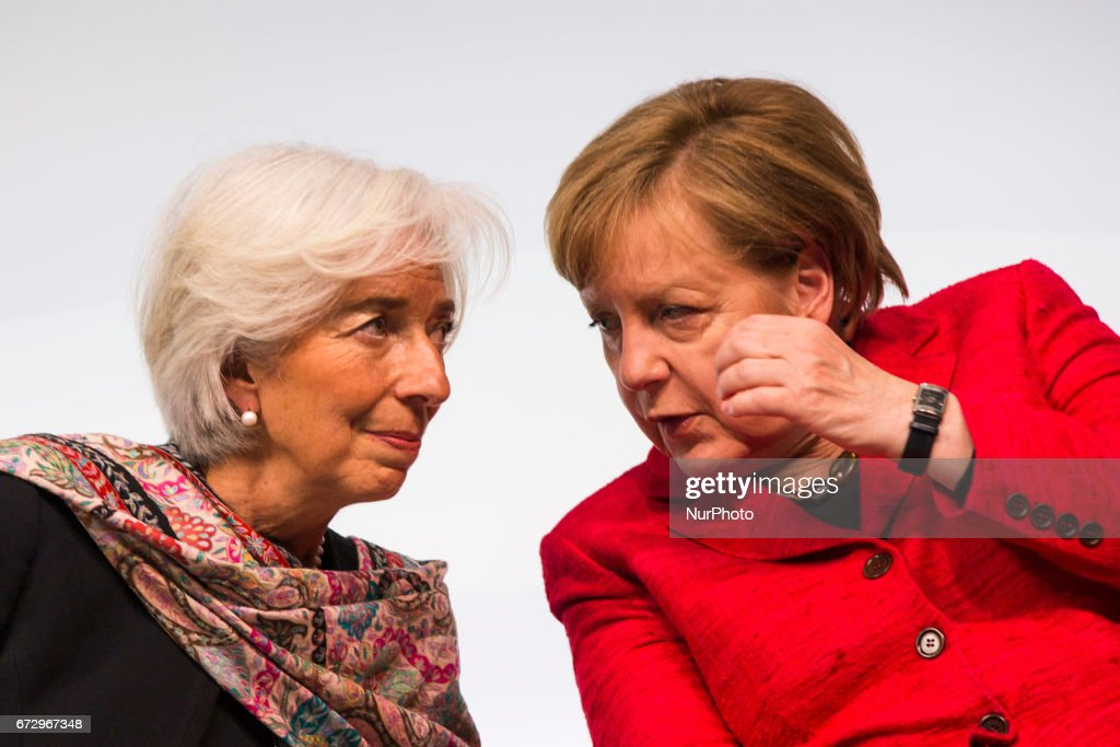 Managing Director of the International Monetary Fund (IMF) Christine Lagarde (L) and German Chancellor Angela Merkel (R)are pictured during the Woman 20 Summit in Berlin, Germany on April 25, 2017. The event, which is connected to the G20 under the German leadership is dedicated to Women's Economic Empowerment and Entrepreneurship.