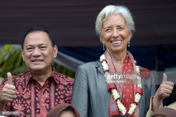 Managing Director of the International Monetary Fund Christine Lagarde and Bank Indonesia Governor Agus Martowardojo pose for a photograph during a...